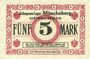 Banknoten Müncheberg. Gefangenenlager. Billet. 5 mark n. d.