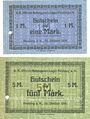 Banknoten Neuburg am Kammel.Offizier- Gefangenenlager. Billets. 1 mark, 2 mark 20.10.1916
