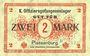 Banknoten Plassenburg. Offizier- Gefangenenlager. Billet. 2 mark, série D