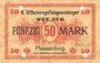 Banknoten Plassenburg. Offizier- Gefangenenlager. Billet. 50 mark, série E, annulation par perforation