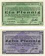 Banknoten Zwickau. Kriegsgefangenenlager. Billets. 1 pf, 10 pf 1.8.1917
