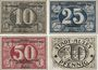 Banknoten Alzey. Stadt. Billets. 10, 25, 50 pf 31.12.1919 , 10 pf 1.2.1921