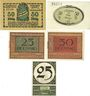 Banknoten Ansbach. Stadt. Billets. 50 pf 1917, 50 pf 1918, 25 pf, 50 pf 1.11.1918, 25 pf 1.12.1920