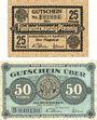 Banknoten Aschersleben. Stadt. Billets. 25 pf, 50 pf 14.4.1917