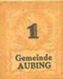 Banknoten Aubing. Gemeinde. Billet. 1 pfennig (1920)