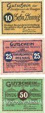 Banknoten Bautzen. Stadt. Billets. 10 pf, 25 pf 50 pf 1.5.1920
