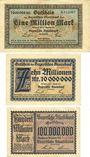 Banknoten Bayerische Staatsbank. Munich 1923. Billets. 1, 10 millions mk 1.8.1923, 100 millions mk