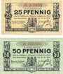Banknoten Bergisch-Gladbach. Stadt. Billets. 25 pf, 50 pf 1.7.1917
