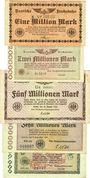 Banknoten Berlin. Chemins de fer et Poste. Billets. 1, 2, 5, 10, 20 millions 1923