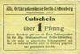 Banknoten Berlin - Lichtenberg. Allg. Ortskrankenkasse. Billet. 1 pfennig n.d.