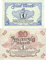 Banknoten Berlin. Stadt. Billets. 5 mark, 20 mark 24.10.1918