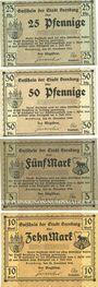 Banknoten Bernburg. Stadt. Série de 4 billets. 25, 50 pf, 5, 10 mark 20.11.1918