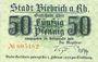Banknoten Biebrich am Rhein. Stadt. Billet. 50 pfennig 1918, cachet Ungultig