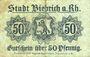 Banknoten Biebrich am Rhein. Stadt. Billet. 50 pfennig 1918