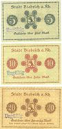 Banknoten Biebrich am Rhein. Stadt. Billets. 5 mark, 10 mark, 20 mark 1918