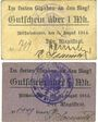 Banknoten Bischofswerder (Biskupiec, Pologne). Stadt. Billets. 1 mk 5.8.1914 ; 1/2 mk 8.8.1914