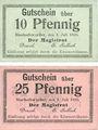 Banknoten Bischofswerder (Biskupiec, Pologne). Stadt. Billets. 10 pf, 25 pfennig 1.7.1920 (1921)