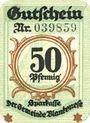 Banknoten Blankenes. Gemeindesparkasse. Billet. 50 pf 15.8.1919 (fév 1920)