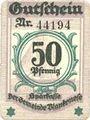 Banknoten Blankenes. Gemeindesparkasse. Billet. 50 pf 15.8.1919 (nov 1920)