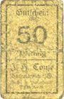 Banknoten Borgentreich. J.H. Conze. Billet. 50 pf, série E (1920)