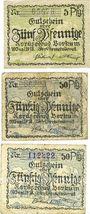 Banknoten Borkum. Gemeinde. Billets. 5 pf, 50 pf (2ex) 10.6.1918