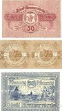 Banknoten Bremervörde. Stadt. Billets. 50 pf n.d., 25 + 25 pf 1.4.1920, 50 pf n.d. (1920)