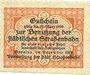 Banknoten Breslau (Wroclaw, Pologne). Städtische Straßenbahn. Billet. 1 voyage (= 20 pf) déc 1919