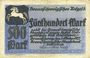 Banknoten Brunswick. Braunschweigische Staatbank. Billet. 500 mark 1.10.1922