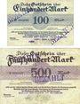 Banknoten Bunzlau (Boleslawiec, Pologne) Bunzlauer Dampfsägewerk u. Holzhandlung. Billets. 100, 500 mk