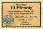 Banknoten Calau. Stadt. Billet. 10 pfennig 1.5.1917