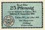 Banknoten Calau. Stadt. Billet. 25 pfennig 1.5.1917