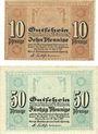 Banknoten Cheminitz. Amtshauptmannschaft. Billets. 10 pf, 50 pf 19.4.1917