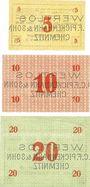 Banknoten Chemnitz Sächsische Maschinenfabrik vorm Rich. Hartmann AG. Billets. 5, 10, 20 mk 21.11.1918