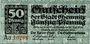 Banknoten Chemnitz. Stadt. Billet. 50 pf 23.9.1918