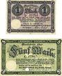 Banknoten Cochen. Landkreis. Billets. 1 mark, 5 mark 19.11.1918