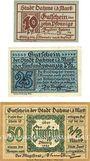 Banknoten Dahne. Stadt. Billets. 10, 25, 50 pf 1920