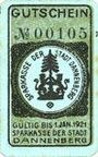 Banknoten Dannenberg. Sparkasse der Stadt. Billet. 50 pfennig n. d. - 1.1.1921