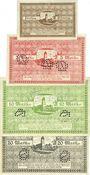 Banknoten Darmstadt. Stadt. Billet. 50 pf, 5 mk, 10 mk, 20 mk 1.11.1918