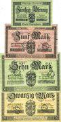 Banknoten Darmstadt. Stadt. Billets. 50 pf, 5 mk, 10 mk, 20 mk 1.11.1918