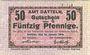 Banknoten Datteln. Amt. Billet. 50 pfennig 15.1.1918, numérotation à 3 chiffres