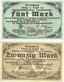 Banknoten Dippoldiswalde. Amtshauptmannschaft. Billets. 5 mark, 20 mark 21.11.1918