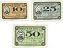 Banknoten Dömitz. Sparkasse der Stadt. Billets. 10 pf, 25 pf, 50 pf 10.7.1921