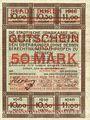 Banknoten Düren. Stadt. Billet. 50 mark 17.10.1918  imprimé sur 10 mark du 15.9.1917