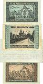 Banknoten Düsseldorf. Landkreis. Billets. 5, 10, 100, 50 millions mk 1923
