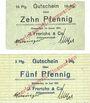 Banknoten Einswarden. Frerichswerft. Billets. 10 pf janvier 1921, 5 pf juin 1921