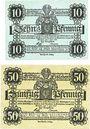 Banknoten Eisleben. Stadt. Billets. 10 pf, 50 pf 1.6.1917