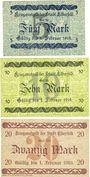 Banknoten Elberfeld. Stadt. Billets. 5, 10, 20 mark 25.10.1918