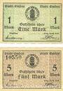Banknoten Emden. Stadt. Billets. 1 mark, 5 mark n. d. - 1.2.1919