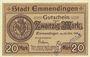Banknoten Emmendingen. Stadt. Billet. 20 mark 30.10.1918, original, N° 165 !