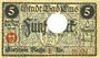 Banknoten Ems, Bad. Stadt. Billet. 5 mark série (Reihe) E 18.11.1918, annulation par perforation